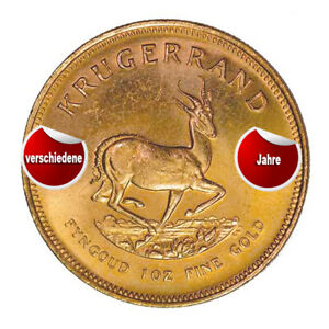 Goldmuenze-Kruegerrand-verschiedene-Jahrgaenge-1-oz-Umlaufware