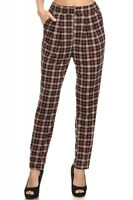 Womens Plaid Harem Pants With Elastic Waist - $30 Msrp H5
