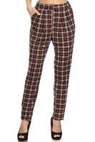Womens Plaid Harem Pants With Elastic Waist - $30 Msrp H5