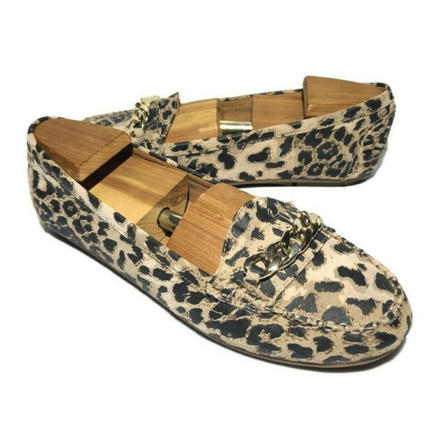 VIONIC Orthaheel Chill Mesa Leopard Chain Link Loafers Flats Shoes Size 9 Womens