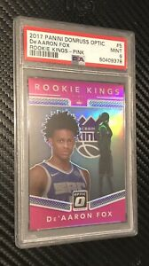 2017-18 Optic Rookie Kings Pink Prizm /25 De'Aaron Fox PSA 9 RC Sacramento SSP