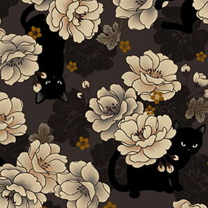 Quilt Gate Hyakka Ryoran Neko Cat HR3110-11E Brown w/Gold Metallic BTY