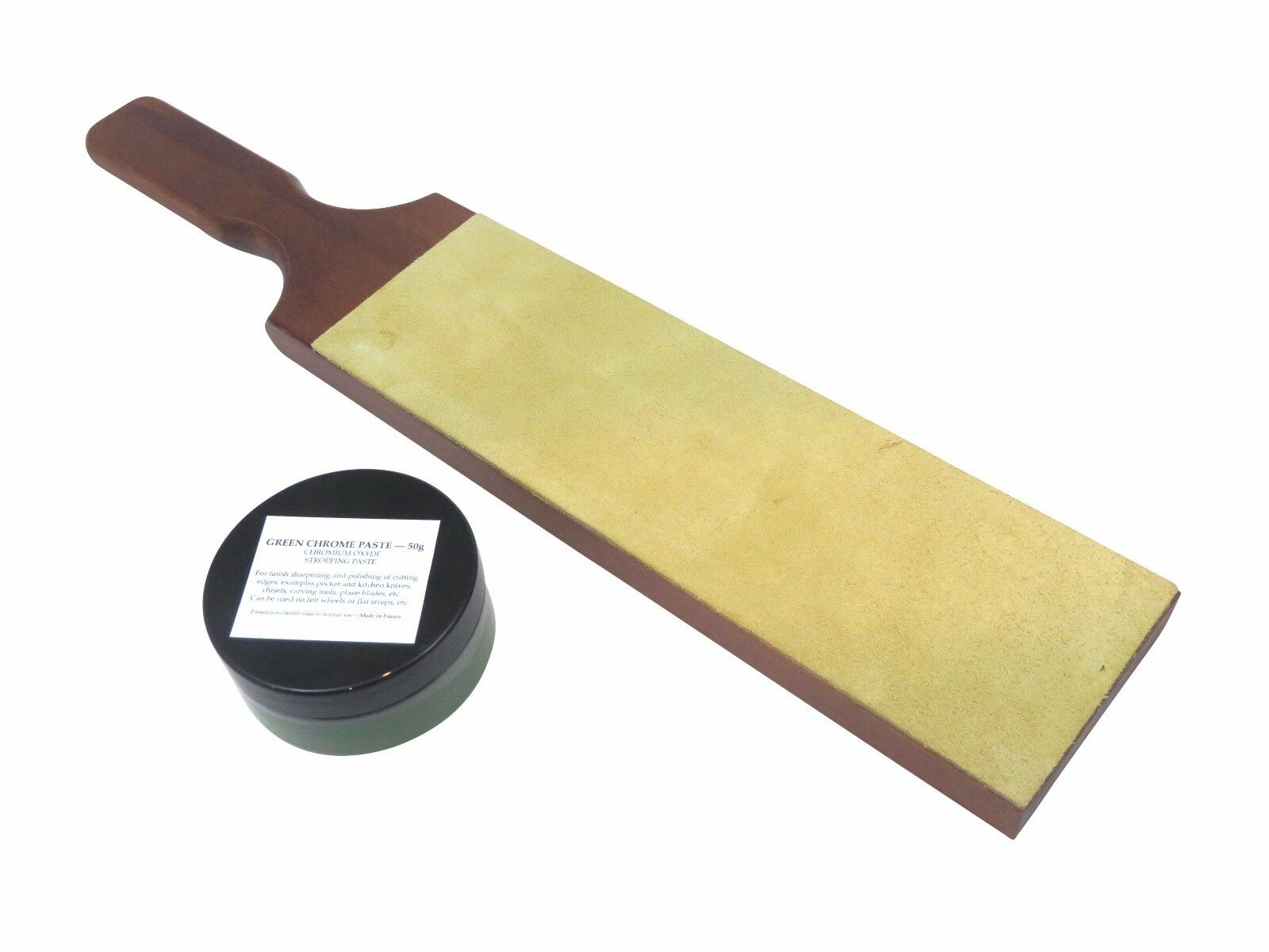 French Leder Strop with 50 G Jar French Grün Chromium Oxide Extra-Fine Paste