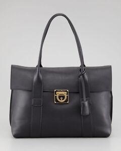 Image Is Loading 100 Auth Used Salvatore Ferragamo Sookie Black Leather