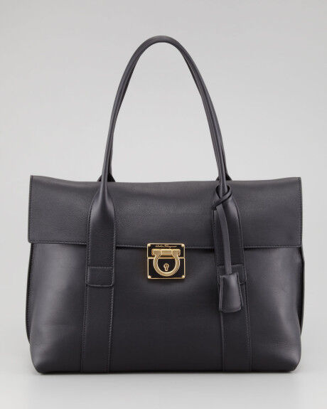 100 Auth Salvatore Ferragamo Sookie Black Leather Satchel Tote Bag Handbag Ebay