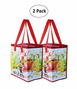 Insulated-Reusable-Grocery-Bag-Shopping-Tote-w-Zipper-Top-Lid-SET-OF-2