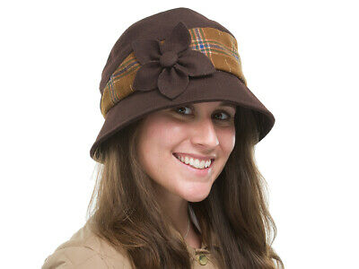 BRAND NEW LADIES MAROON MELTON WOOL WINTER CLOCHE STYLE HAT HEATHER