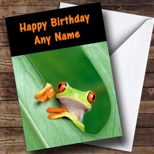 Frog In A Leaf Personalised Birthday Greetings Card
