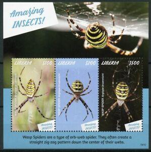 Liberia 2019 Neuf Sans Charnière Fabuleux Insectes Guêpe Spider 3 V M/s Araignées Timbres-afficher Le Titre D'origine Attrayant Et Durable
