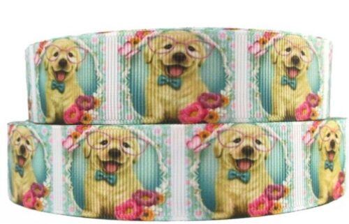 "BTY 1/"" Yellow Lab Puppy Grosgrain Ribbon Hair Bows Dog Collars Lisa"