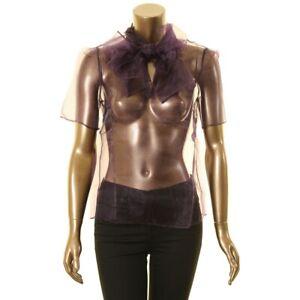 ANNE-KLEIN-NEW-Women-039-s-Short-Sleeve-Sheer-Tie-Neck-Blouse-Shirt-Top-TEDO