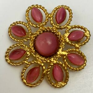 Vintage-Pink-Glass-Moonglow-Style-Gold-Tone-Flower-Brooch-Pin-Floral-Navette