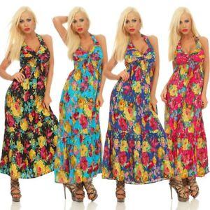 wo kann ich kaufen neueste Kollektion Super günstig 11536 Sexy Damen Maxikleid Sommerkleid Neckholder Stufenrock ...