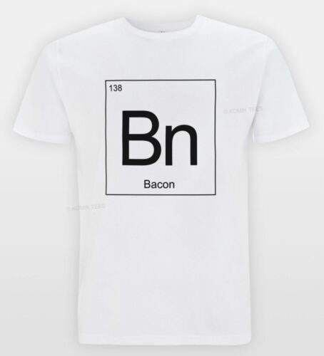 BACON Periodic Table T-shirt Funny Science Hipster Joke Tee Lab DNA Novelty Top