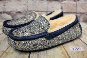 Da-Donna-UGG-Australia-Ansley-Fancy-Bllue-Slip-On-Pelle-Di-Pecora-Pantofole-UK-3-EUR-36