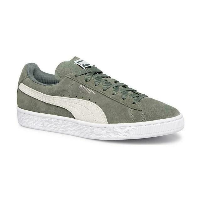 Puma Suede Classic Olive Green White 355462 76 Womens Sneakers Size 6.5