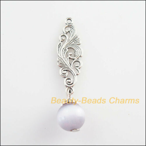 5Pcs Tibetan Silver Tone Violet Oeil de Chat Perles Fleur Charms Pendentifs 10x45mm