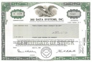 202-Data-Systems-Inc-gt-1983-Pennsylvania-old-stock-certificate-share