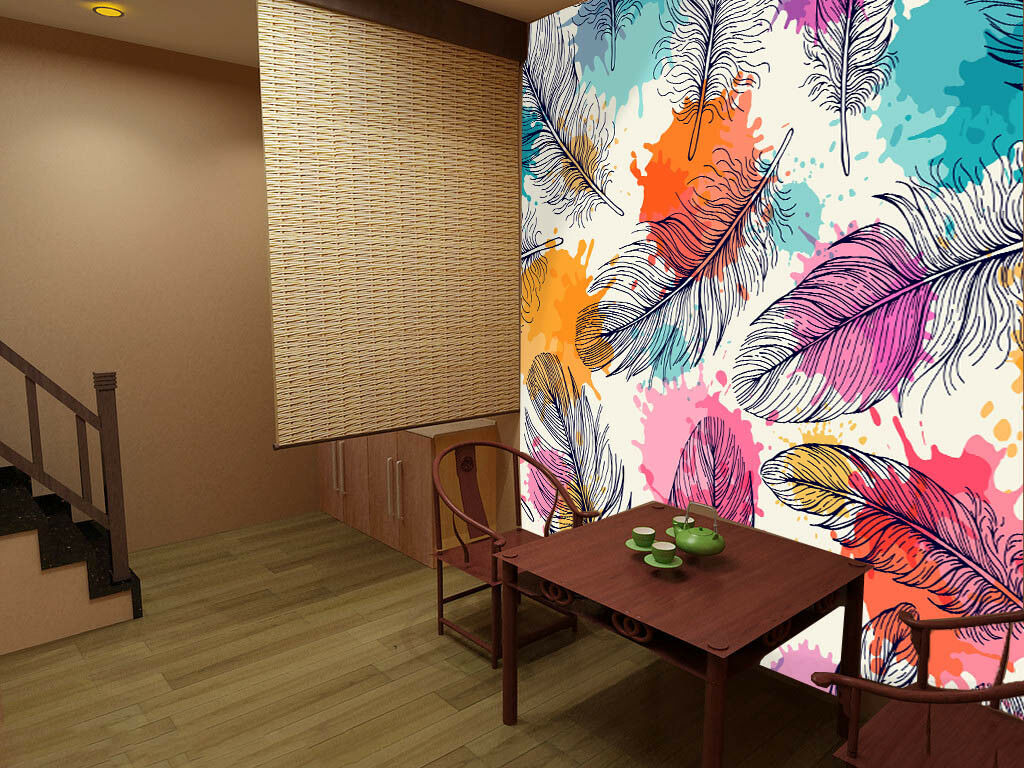 3D Farbige Federn 49 Tapete Tapeten Mauer Foto Familie Tapete Wandgemälde DE