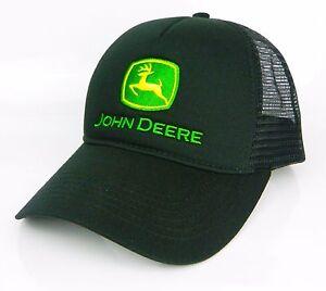 JOHN DEERE *BLACK* MESH BACK SNAPBACK TRADEMARK LOGO CAP HAT *BRAND NEW*