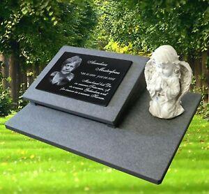 Granit Grabplatte Grabmal Gedenkstein 60x40 cm Foto+Text Gravur Grabstein gg38s