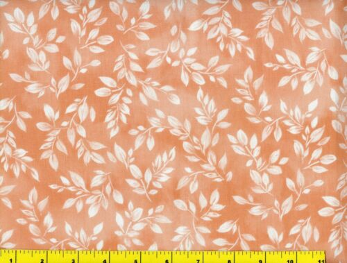 Small Light Orange Leafy Branches on Orange Quilting Fabric by Yard #794