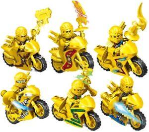 Ninjago-Ninja-Dorado-Moto-Motocicleta-Lego-Personalizado-Mini-Figura-Lloyd-Zane-Kai