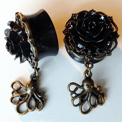 TATTOO INSPIRED Black Rose OCTOPUS DANGLE EAR GAUGES Double Flared Acrylic