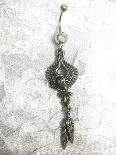 RARE EJC PEWTER ENGRAVED EAGLE w TWIN FEATHER DREAM CATCHER CZ BELLY BUTTON RING