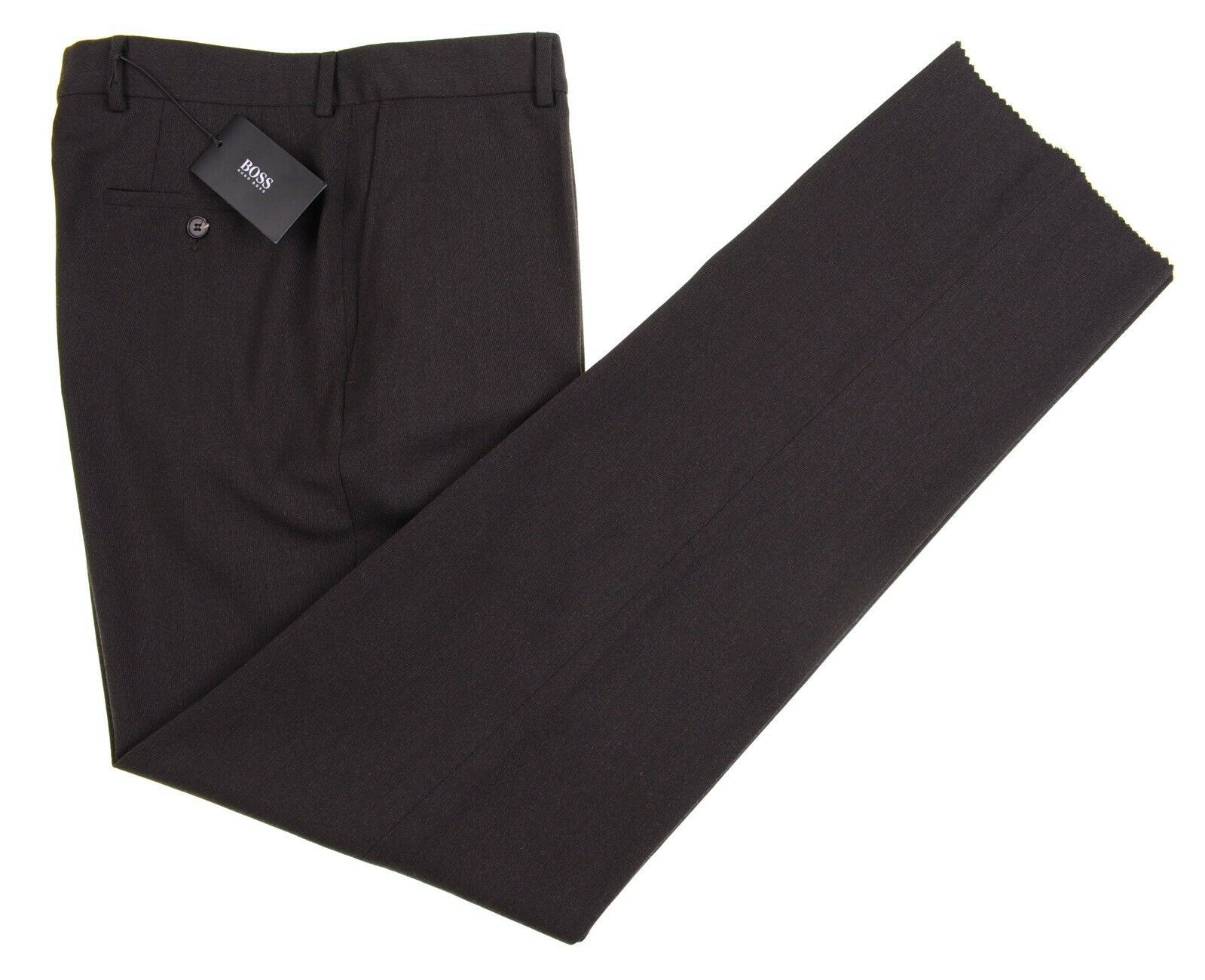 NWT Hugo Boss 'James Brown' Brown Brushed Twill Flat Front Dress Pants 34 NEW