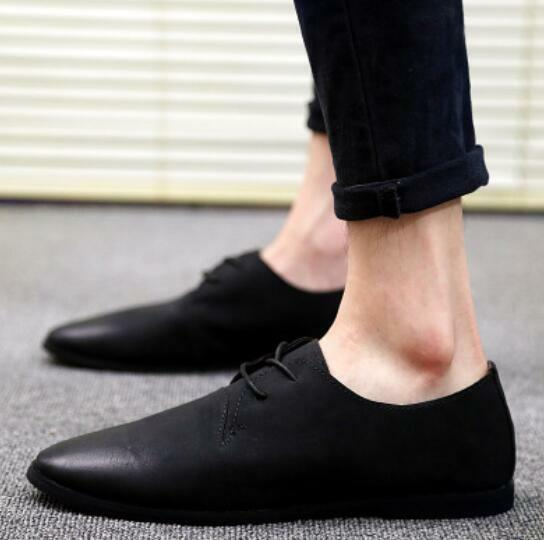 Mens Leather Pointed Toe Lace Up Flat Heel Casual shoes Loafers Slip On New YT1