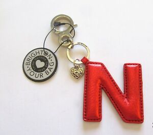 Brighton-Let-039-s-Hang-Out-Initially-Yours-N-Handbag-Fob-red-animal-print-leather