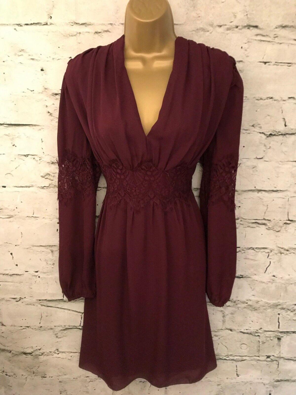 Max Studio Ladies Burgundy Lace Long Sleeved Dress Size M US 8