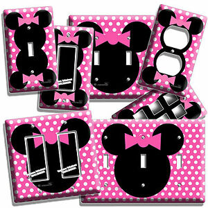 MINNIE MOUSE EARS PINK POLKA DOTS GIRLS BEDROOM LIGHT SWITCH OUTLET ...