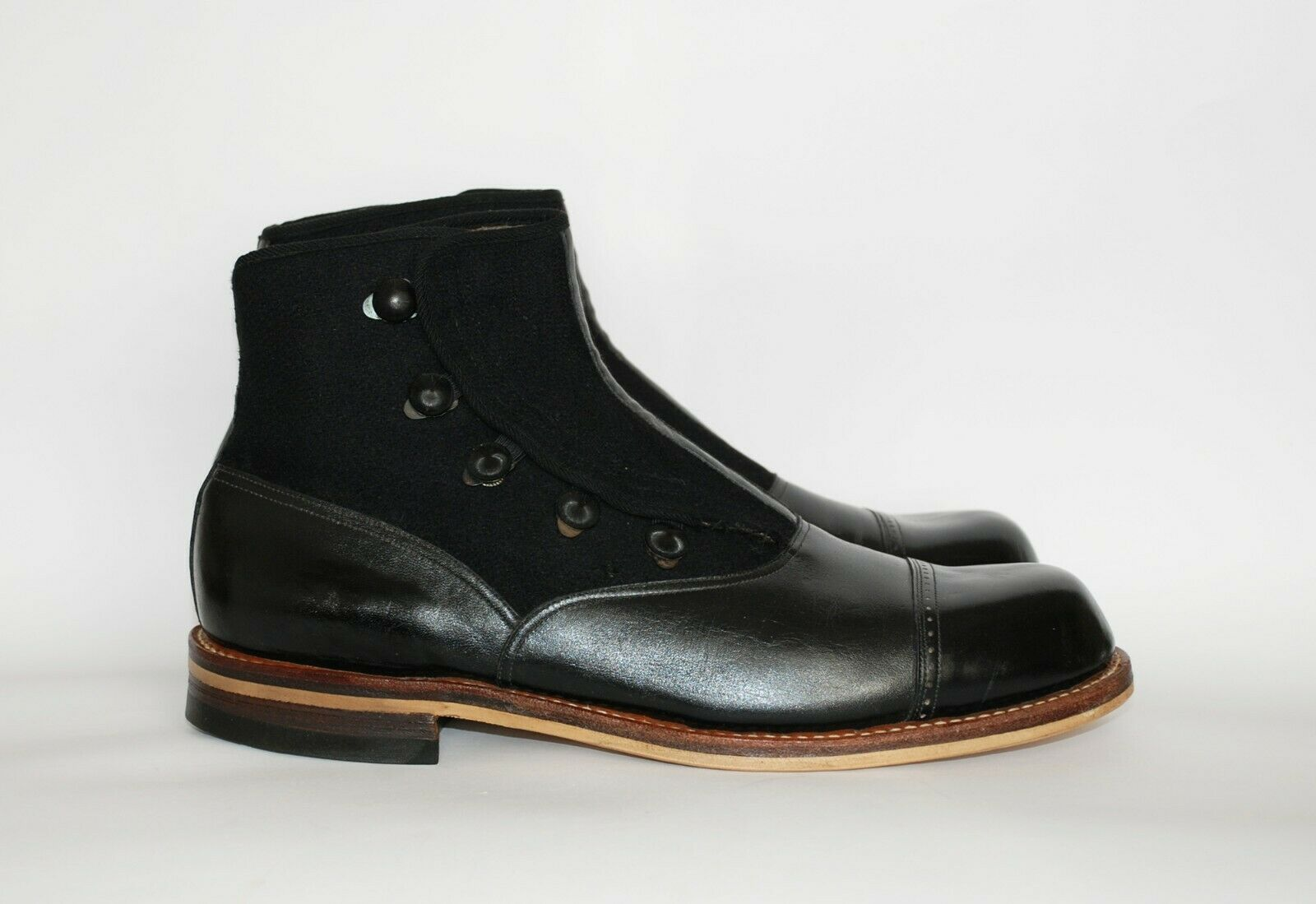 STUNNING PAIR OF ORIGINAL 1930S BLACK LEATHER AND… - image 4