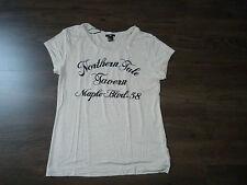H&M - Top T-shirt en viscose manches courtes beige brodé FEMME Taille M 38 40