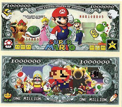 Mario Brothers Video Game Series Million Dollar Novelty Money | eBay