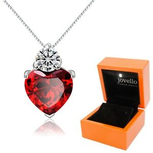 925-Silber-rot-Herz-Kristall-Zirkonia-Anhaenger-mit-Kette-Halskette-LED-Box