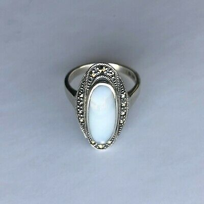 Sterling Silver Art Deco 2.5ct Shell Mother of Pearl /& Marcasite Ring