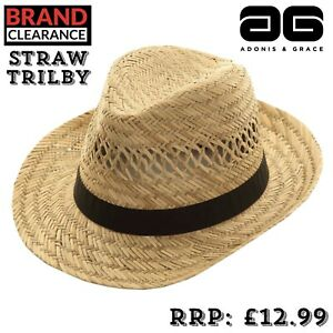 100-Straw-Mens-Fedora-Hat-Trilby-Festival-Sun-Protection-UP50-3-Sizes-By-A-amp-G