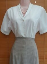 EASTEX Vintage 40s Style Cream Ivory Blouse UK 12 Embroidered collar