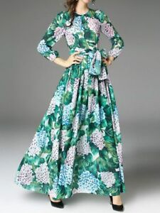 Vestiti Colorati Eleganti.Elegante Vestito Abito Lungo Colorato Gipsy Verde Slim Maniche