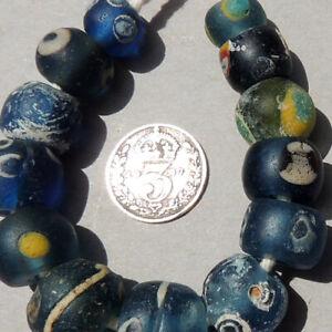 13 ancient islamic glass eye beads mali #50