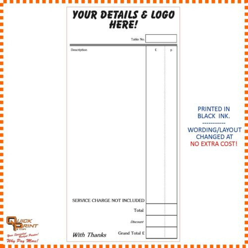 10 x PRINTED RESTAURANT FOOD ORDER PADS - INDIAN CHINESE ETC 2 PART NCR