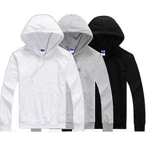 Men Women Unisex PULLOVER HOODIE Sweat Jacket White Grey Black Plain ... 04579935cc