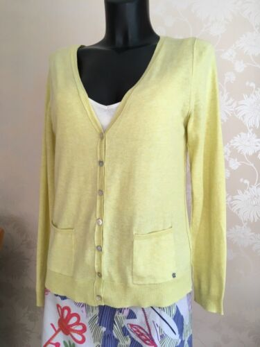Cotton Shell Yellow Stuff Cardigan Bnwt Buttons Ladies Pale Uk 12 White Heart ExpqwYpt