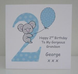 Image Is Loading Personalised Boys 2nd Birthday Card Son Grandson Nephew