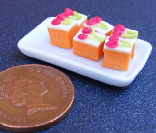 Bandeja de cerámica de escala 1:12 de 6 rebanadas de Naranja Suelto tumdee Pastel Casa De Muñecas PL45