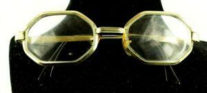 Vintage-Eyeglasses-Spectacles-Octagonal-Lens-Brass-Frame