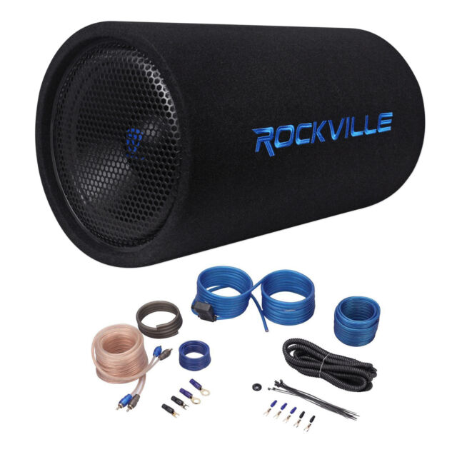 """Rockville RTB12A 12"""" 600w Powered Subwoofer Bass Tube + Bass Remote+Amp Kit"""